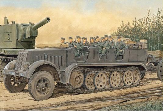 De Sd.Kfz.7 8t Half-Track Begin van de Productie van w/Crew - DRAGON 6545