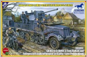 Sd.Auto.6/2 (BN9) 3.7 cm FlaK36 na vozík, trakční vozík BRONCO CB35043