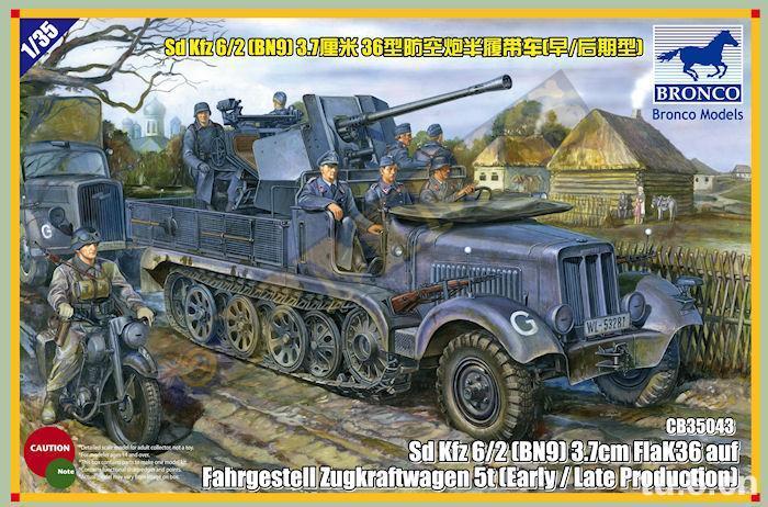 Sd.Kfz.6/2 (BN9) 3.7cm FlaK36 auf Fahrgestell Zugkraftwagen - BRONCO CB35043