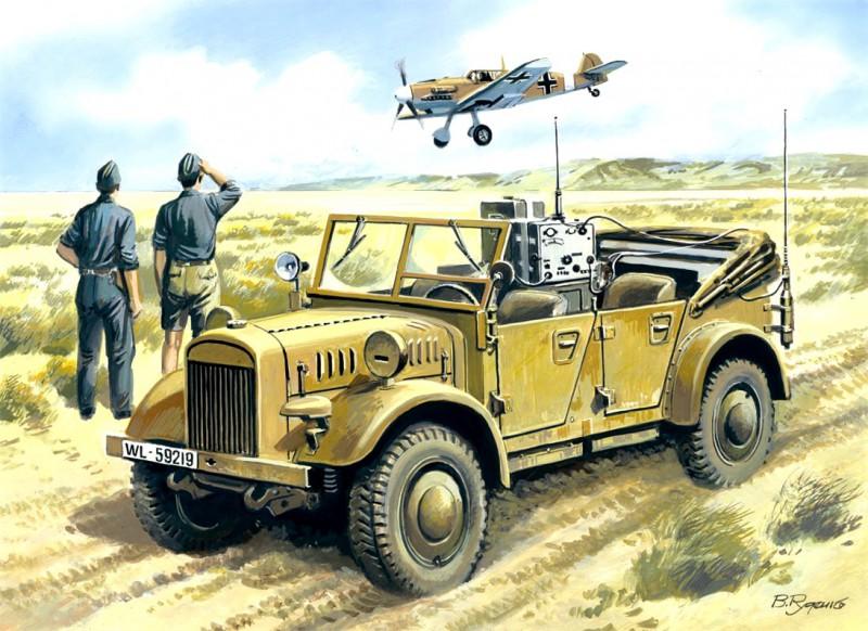 le. gl. Enhed-Bil (Kfz.2) anden verdenskrigs tyske Radio-Bil - ICM 35522