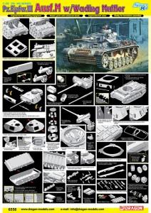 Pz.Kpfw.III Ausf.M w/Brodění Tlumič výfuku - DML 6558