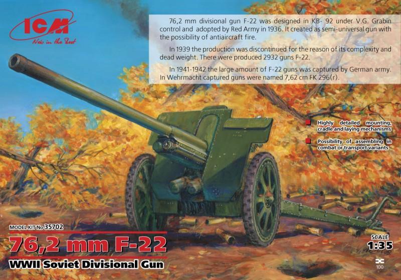 76,2 mm F-22 druhej svetovej VOJNY Sovietskej Divízie Zbraň - ICM 35702