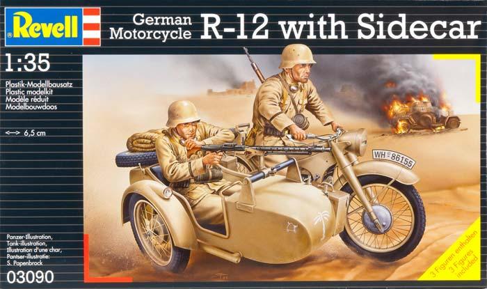 Nemecký Motocykel R-12 - Postranným Vozíkom Posádky - Revell 03090