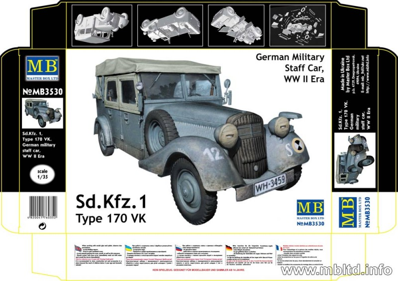 Sd. Kfz. 1 Type 170 VK - German Military Staff car - Master Box MB3530