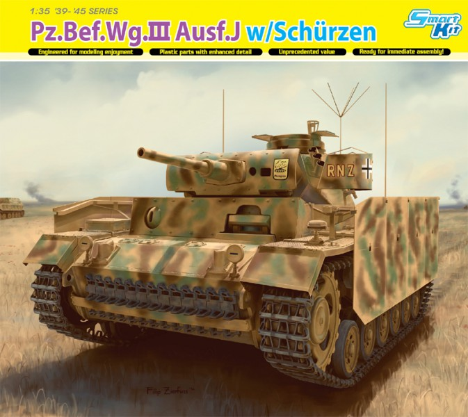Pz.БЕФ.Wg.III Ausf.J w/Schurzen - DML 6570