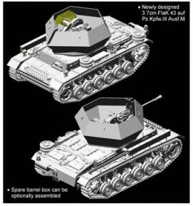3.7cm FlaK 43 auf Fahrgestell, Pz.Kpfw.III Ausf.M (Versuchsaufbau) - Cyber-Hobby 6771