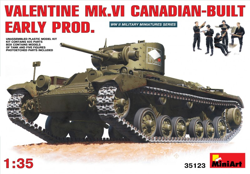 VALENTINE Mk. VI CANADIAN - BUILT EARLY PROD. - MINIART 35123